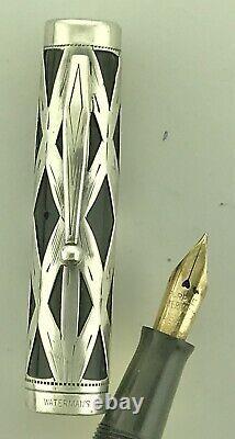 Waterman Déco C. 1934 Sterling 403 Fontaine Pen & Crayon Nouveau Sac