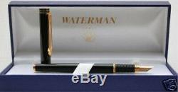 Waterman Exclusive Matte Black & Gold Fountain Pen En Or 18 Carats M Pt Pen Neuf Dans La Boîte